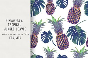 Pineapples,jungle leaves pattern