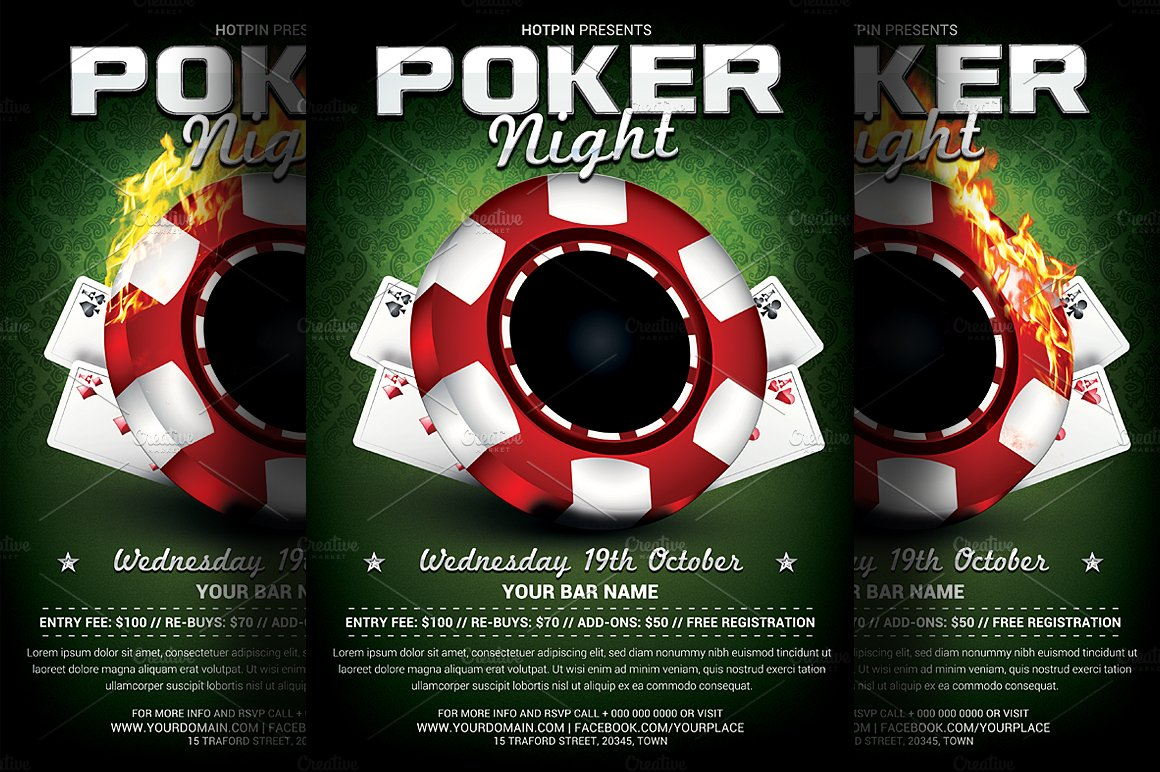 poker night flyer template flyer templates on creative market