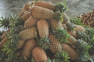 Pineapples on a market