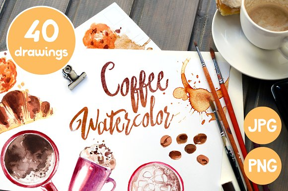 Coffee. Watercolors - Illustrations