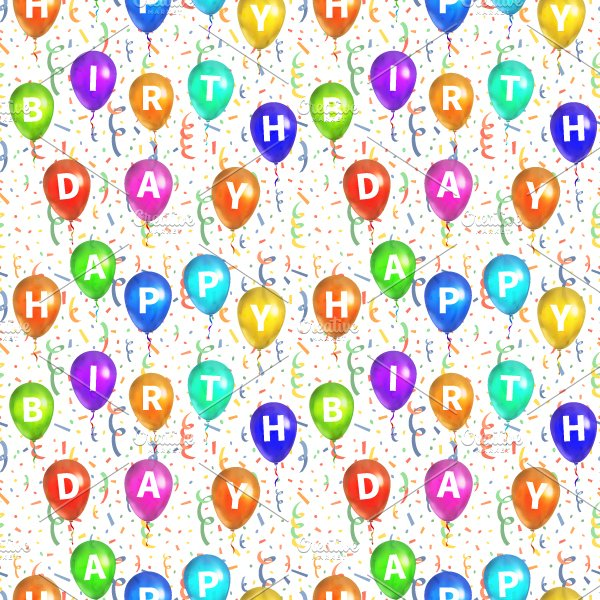 Happy Birthday Pattern With Balloons