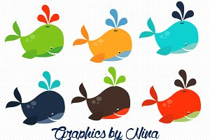 Colorful Whales Clipart/Illustration
