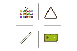 Billiard. 4 color icons. Vector