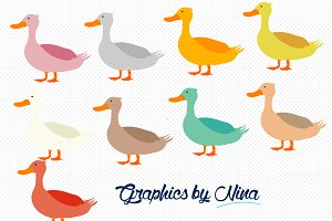 Cute colorful ducks clipart