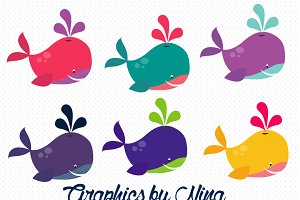 Girly Whales clipart