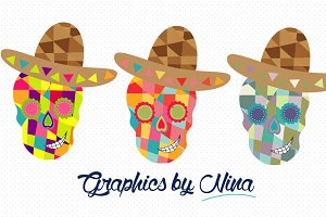 Colorful Skulls clipart