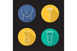 Shaving. 4 icons. Vector