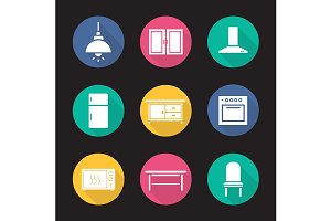 Kitchen interior. 9 icons. Vector