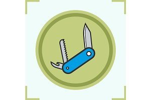 Penknife color icon. Vector