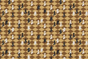 Chess figures, isometric pattern