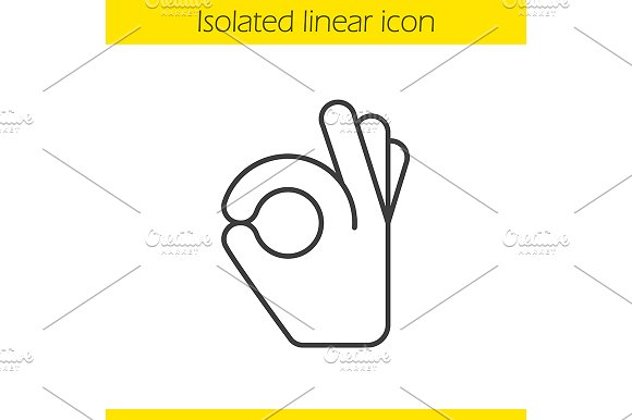 OK hand gesture linear icon. Vector - Icons