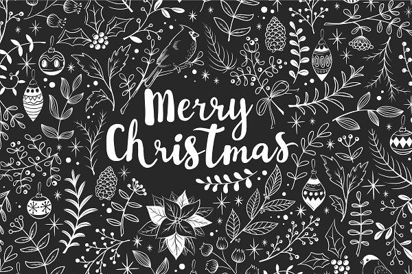 Merry Christmas chalkboard set