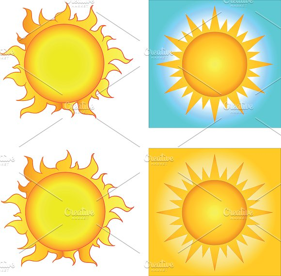 Different Sun Designs. Collection - Illustrations