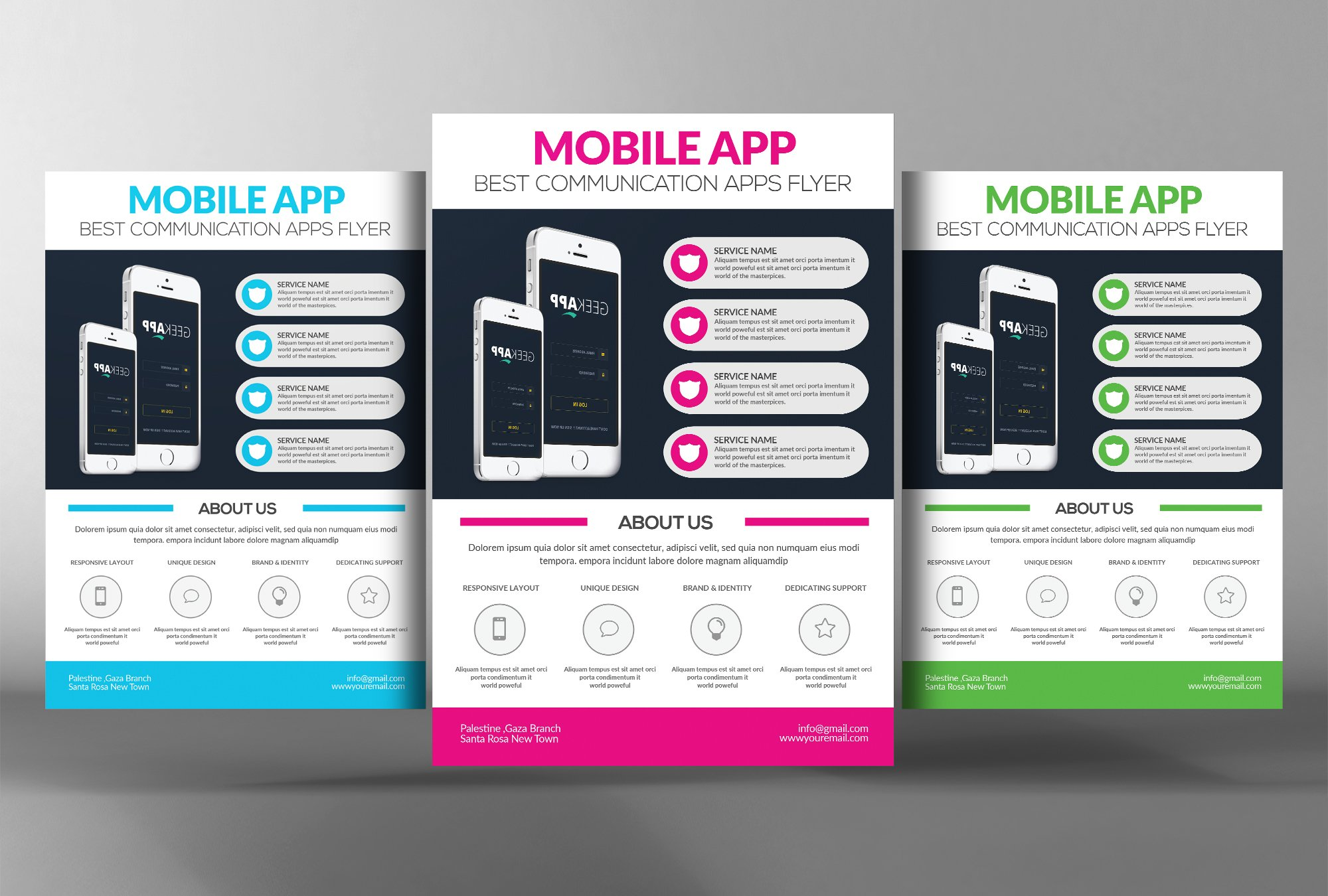 Mobile app flyer template flyer templates creative market for App templates free