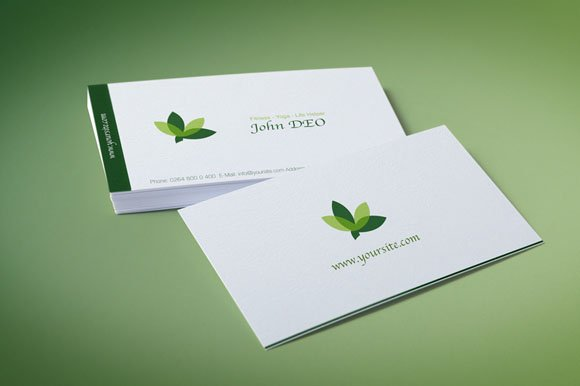 Green leaves business card template business card templates organic green business card friedricerecipe Images