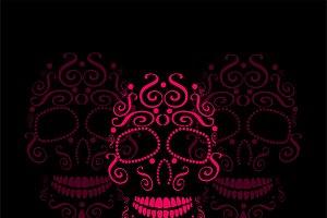 Skull vector ornament pink color