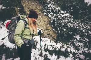Woman hiker trekking
