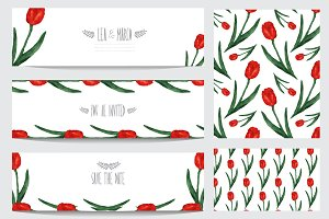 Red Tulip Cards and Patterns