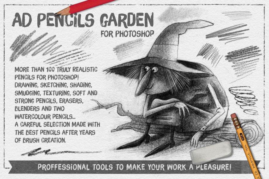 the pencils garden brushes creative market