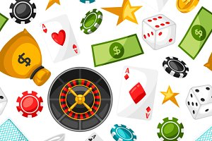 Casino gambling seamless patterns.