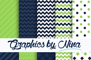 Navy and green digital papers
