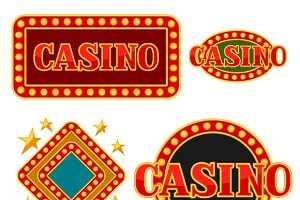 Set of casino signboards.