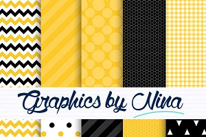 Yellow and black digital papers