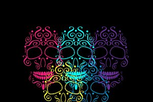 Skull vector ornament colored