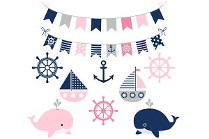 Girl nautical set with whales