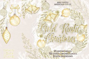 "Watercolor ""Gold Rustic Christmas"""