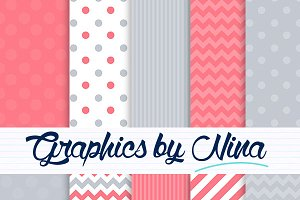 Gray and coral digital papers