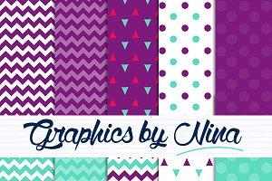 Purple and Aqua digital papers