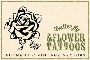 Retro Tattoos 12 Flower & Butterfly