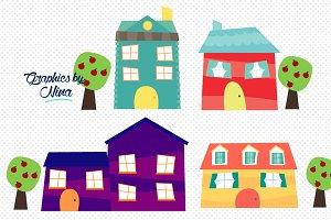 Cute little houses clipart