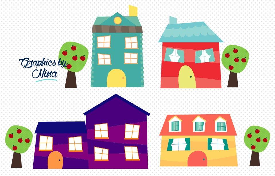 houses clipart cute clip creativemarket illustrations graphics whoville creative market beach