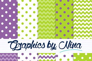 Purple and green digital papers
