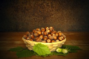 Hazelnuts In The Basket On Table