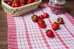 strawberries on the kitchen towel