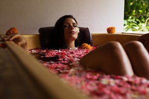 Attractive woman in bathtub