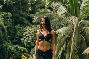 Beautiful female model walking