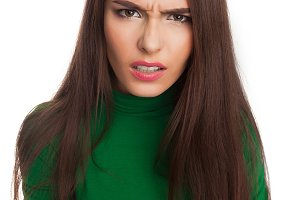 Woman in a green turtleneck