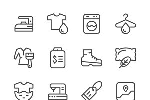 Set line icons of laundry