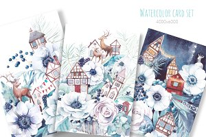Deer Town. Christmas floral card set