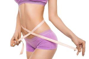 Model in panties measuring