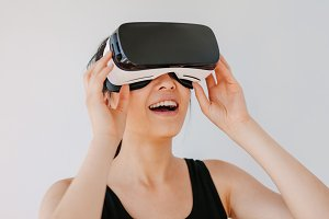 Female model wearing virtual reality