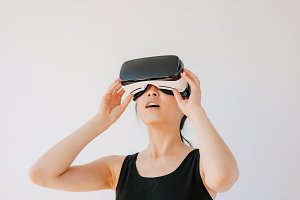 Asian woman using the virtual