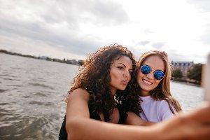 Beautiful girls taking selfie