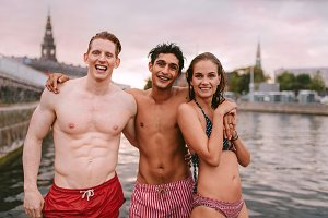 Young people in swimwear