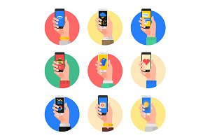 Set of hands with smartphones