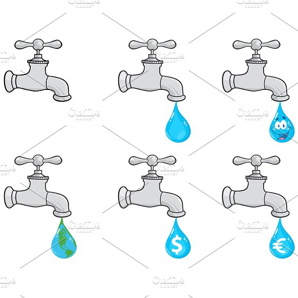Water Faucets. Collection - Illustrations